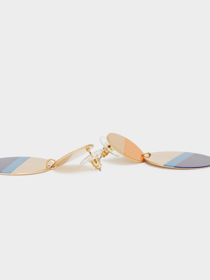 Long Gold Earrings, Multicolor, hi-res