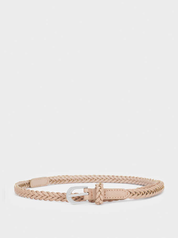 Braided Belt, Pink, hi-res