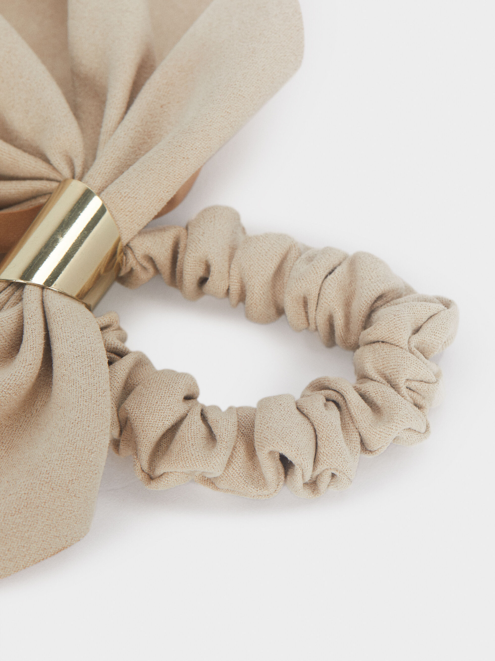 Hair Scrunchie With Bow, Beige, hi-res