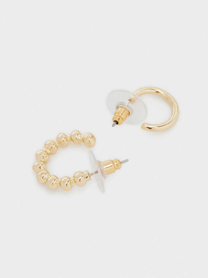 Hoop Fever Hoop Earrings Set, Golden, hi-res