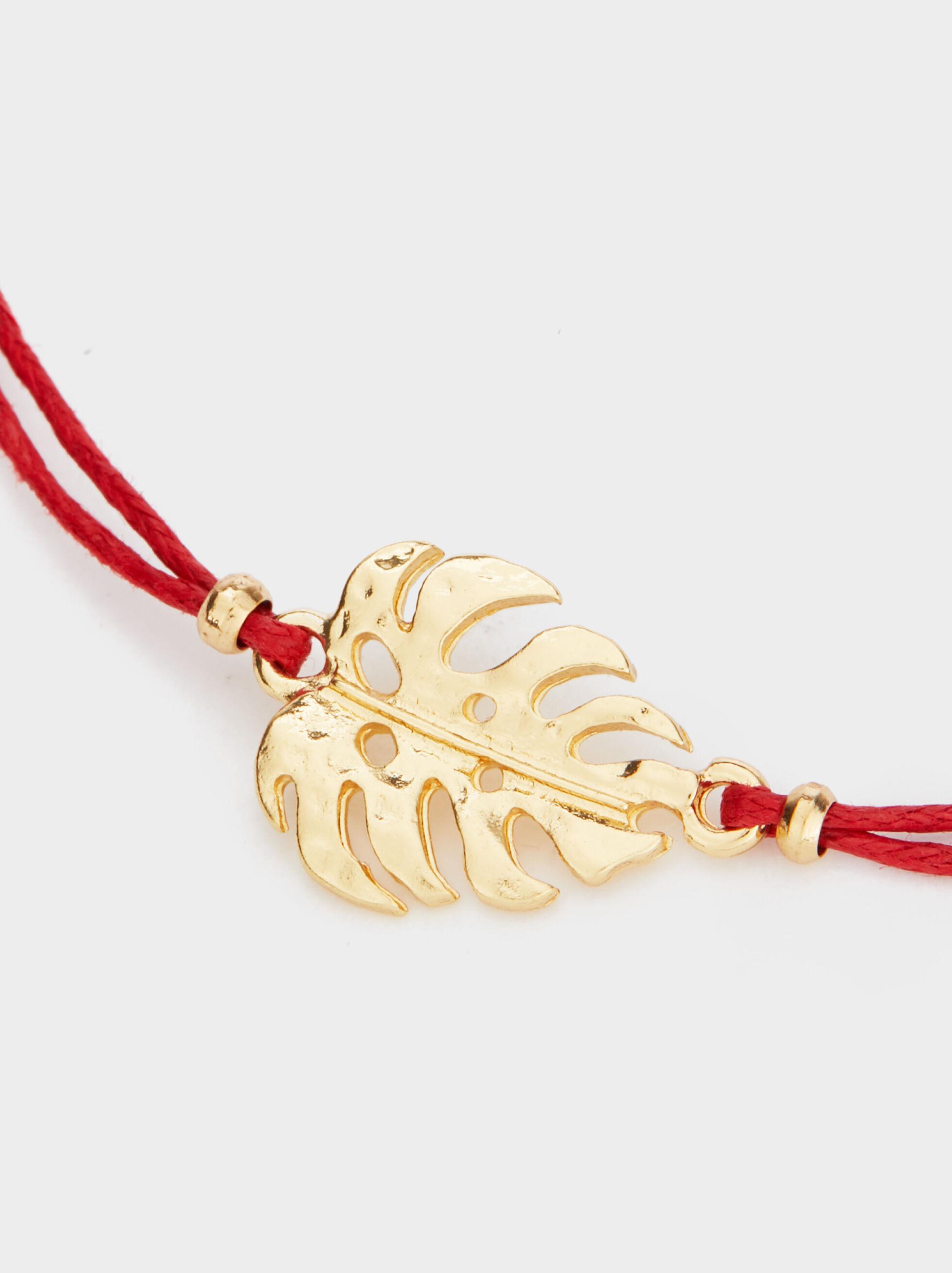 Adjustable Bracelet With Leaf, Red, hi-res