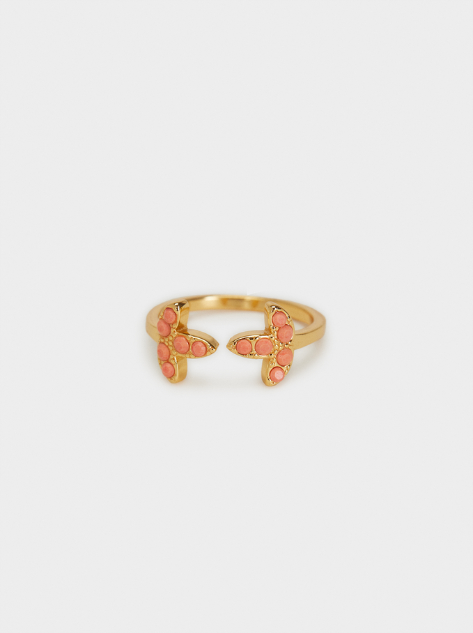 Silver 925 Ring With Crystals, Coral, hi-res