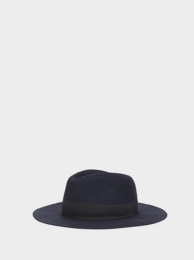 Chapéu De Malha Com Fita Em Contraste, Azul Marinho, hi-res