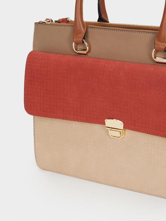 Suede Texture Briefcase, Brick Red, hi-res