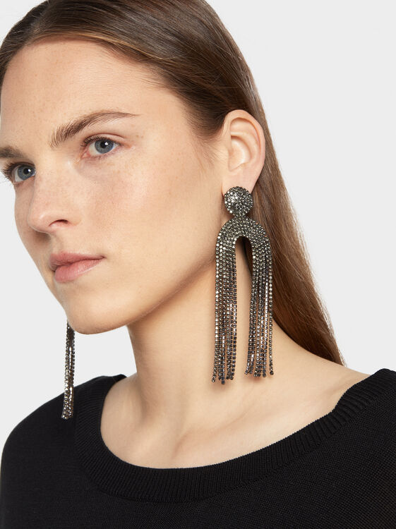 Botanic Party Long Earrings, Black, hi-res