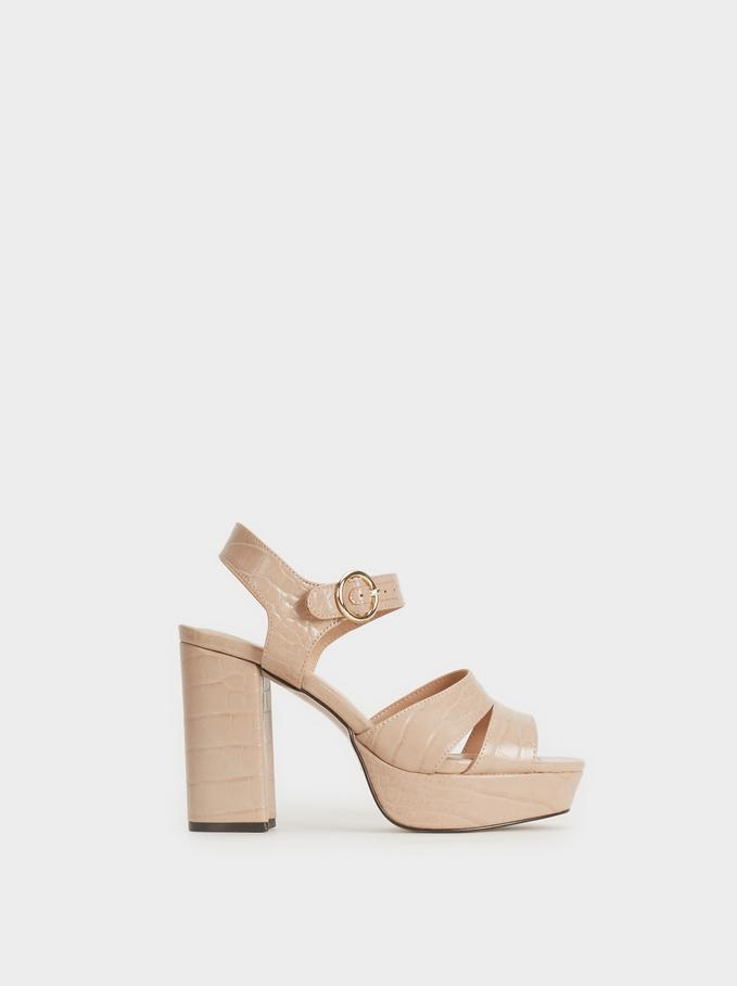 Mock Croc Heeled Sandals, Pink, hi-res