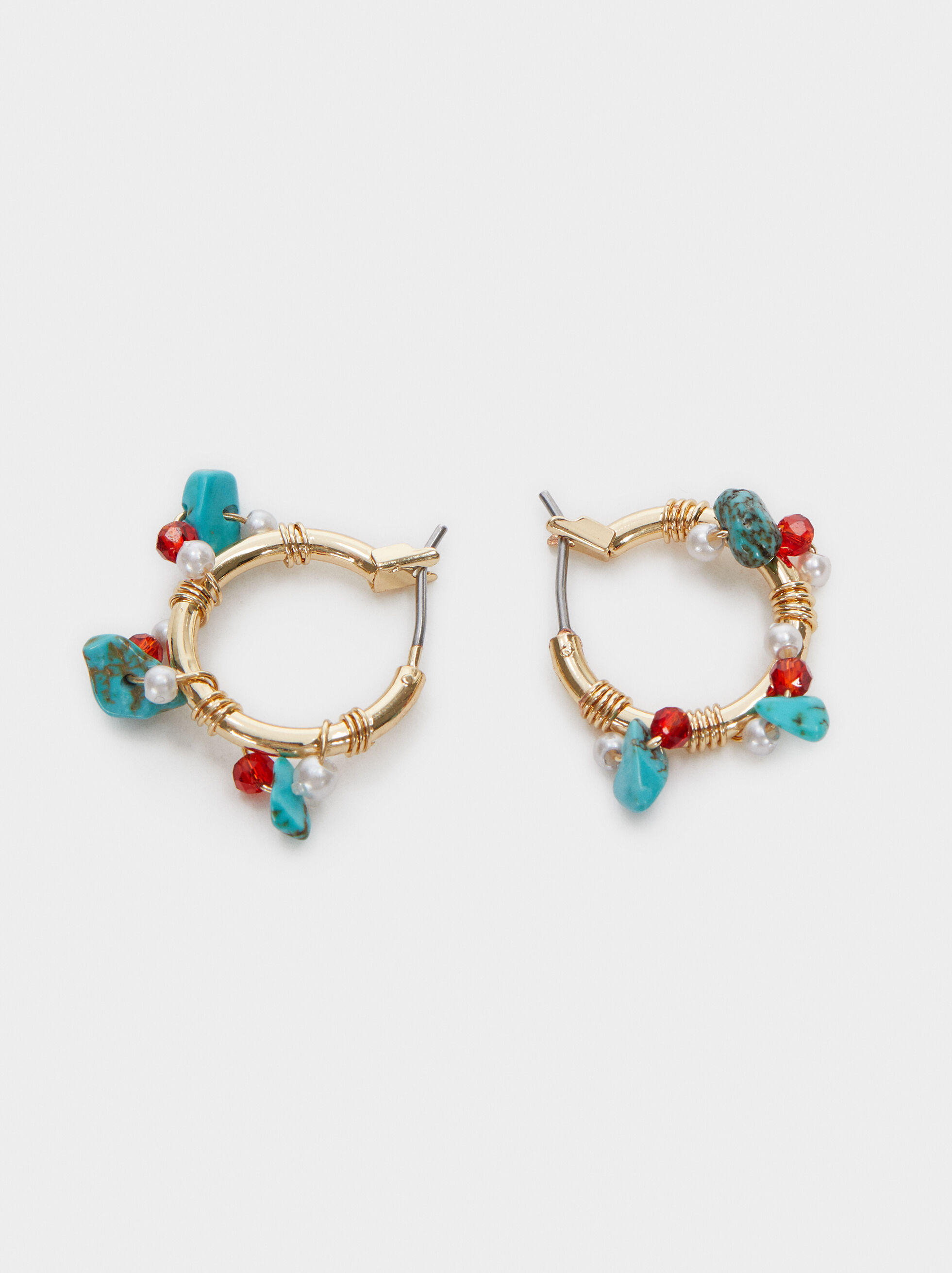 Recife Short Hoop Earrings With Beads, Multicolor, hi-res