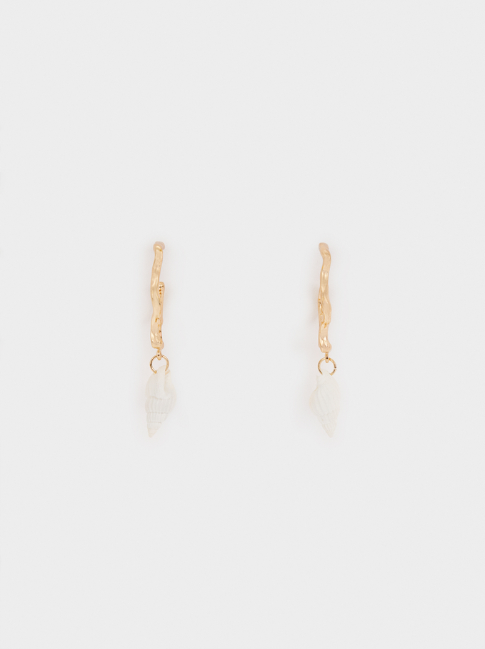Medium Wavy Hoop Earrings With Seashells, Golden, hi-res