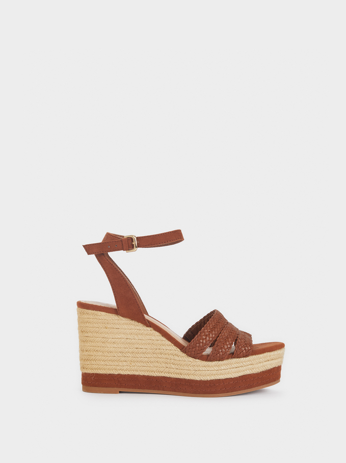 Wedges With Plaited Straps, Camel, hi-res