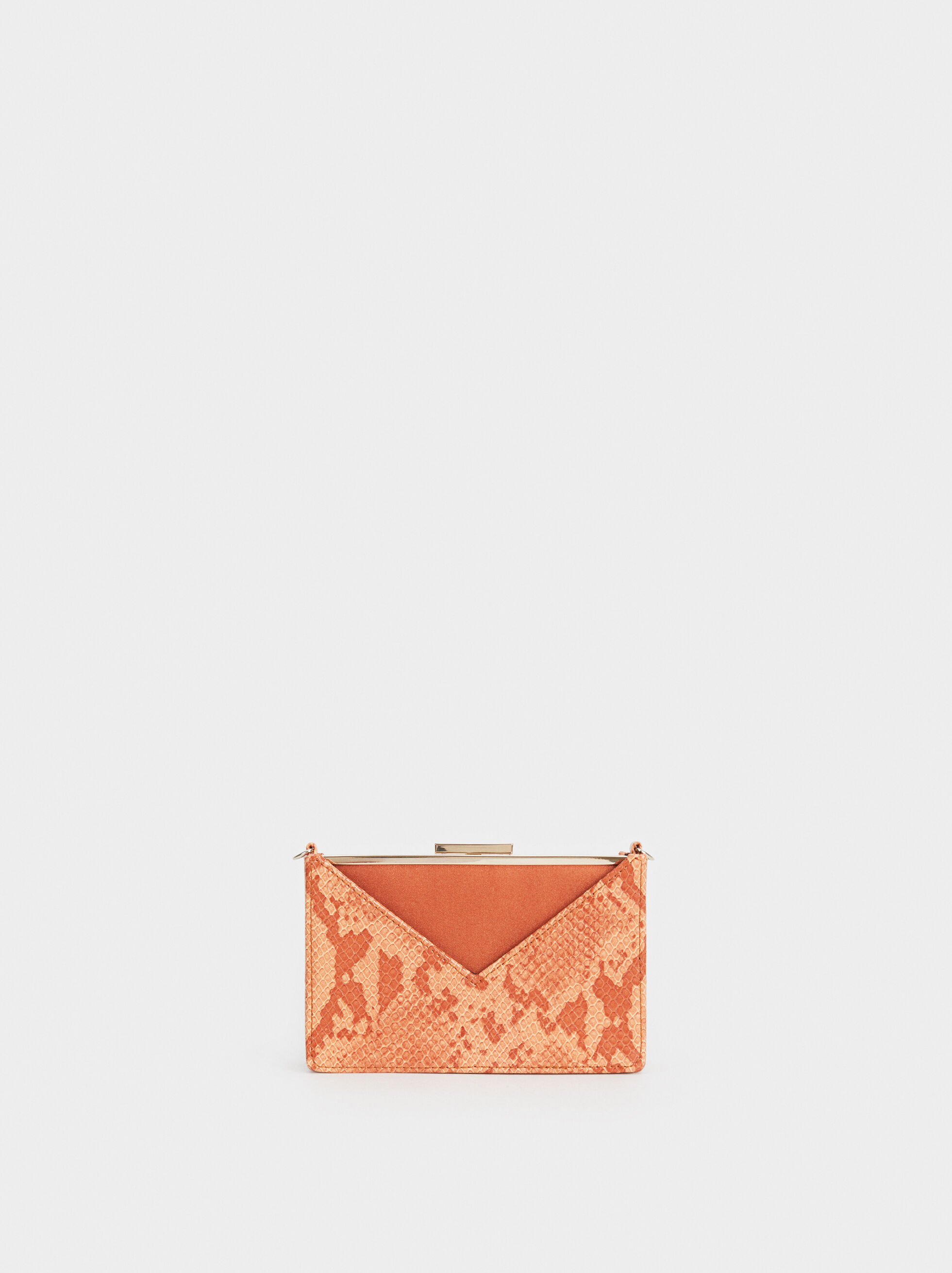 Faux Snakeskin Party Clutch, Brick Red, hi-res