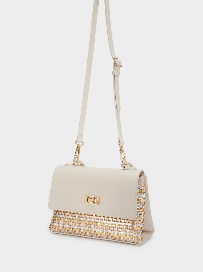 Braided Tote Bag With Front Flap, Beige, hi-res