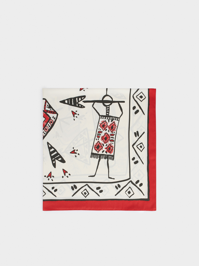 Printed Square Neckerchief, Ecru, hi-res