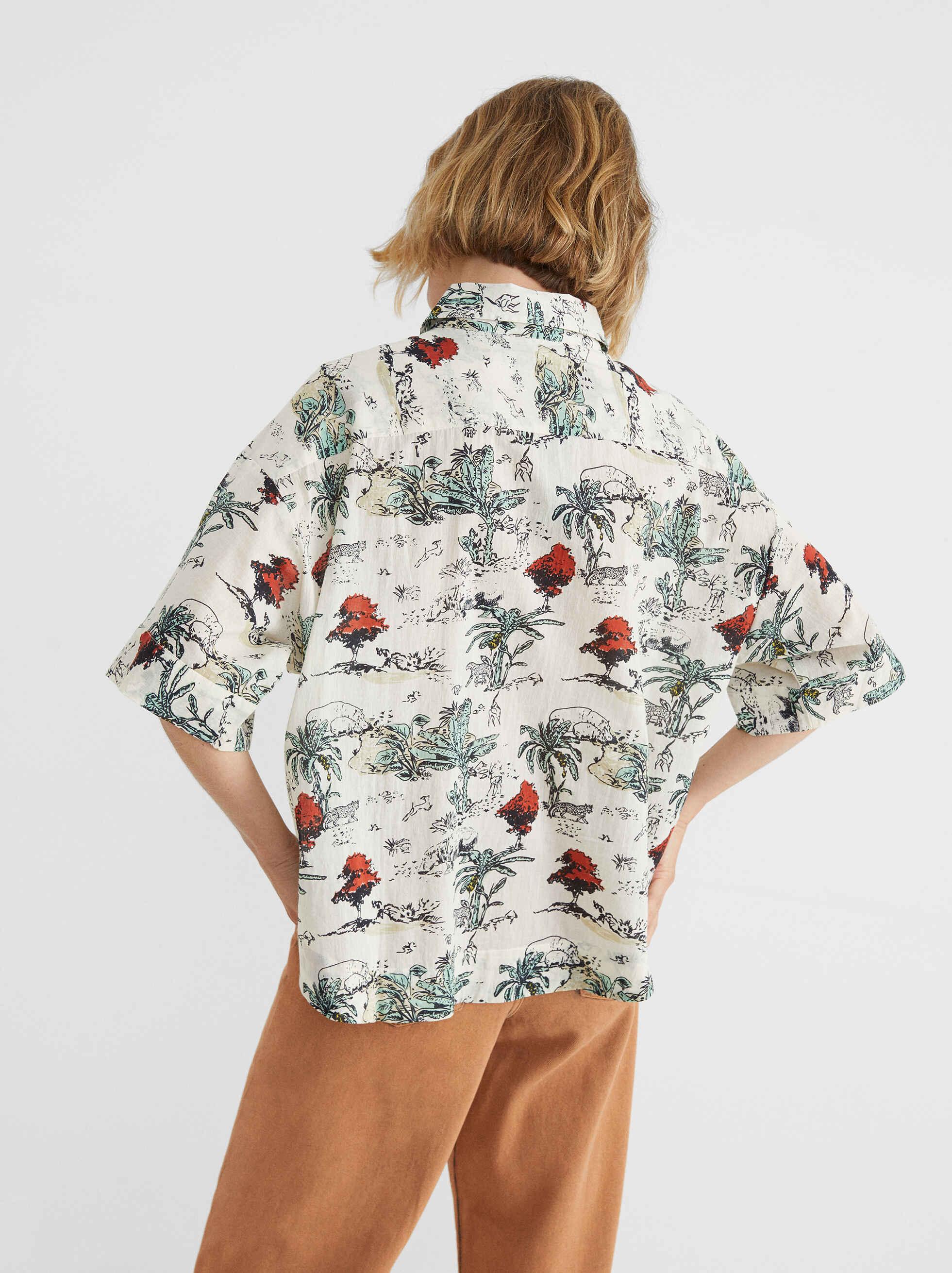 Floral Print Shirt, Ecru, hi-res