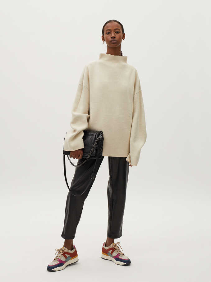 High-Neck Knit Sweater, Ecru, hi-res