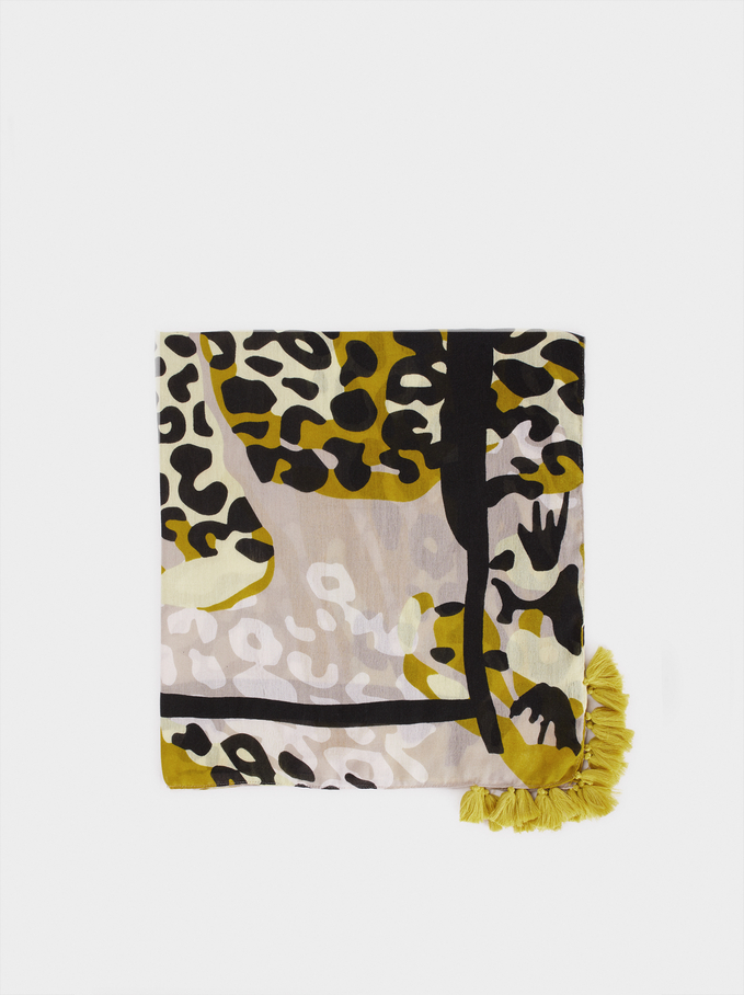 Animal Printed Scarf, Ecru, hi-res