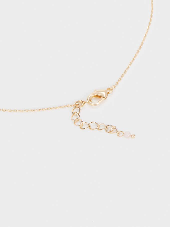 Short Necklace With Clover, Golden, hi-res
