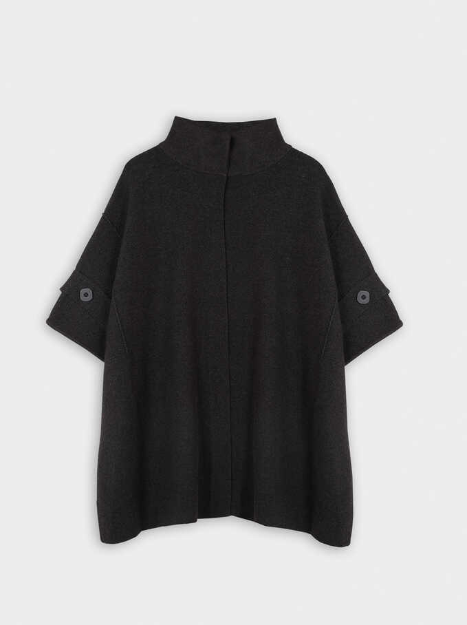 Knit Poncho With Button Detail, Grey, hi-res