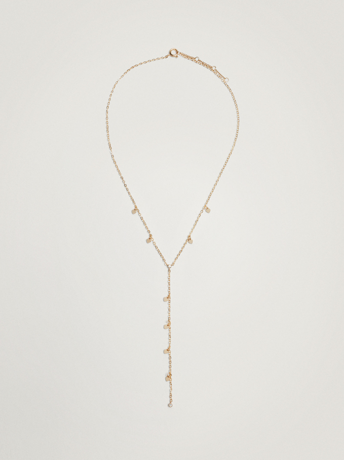Long Necklace With Hearts, Golden, hi-res