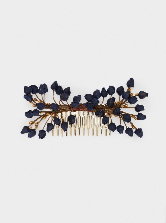 Comb With Floral Detail, Navy, hi-res