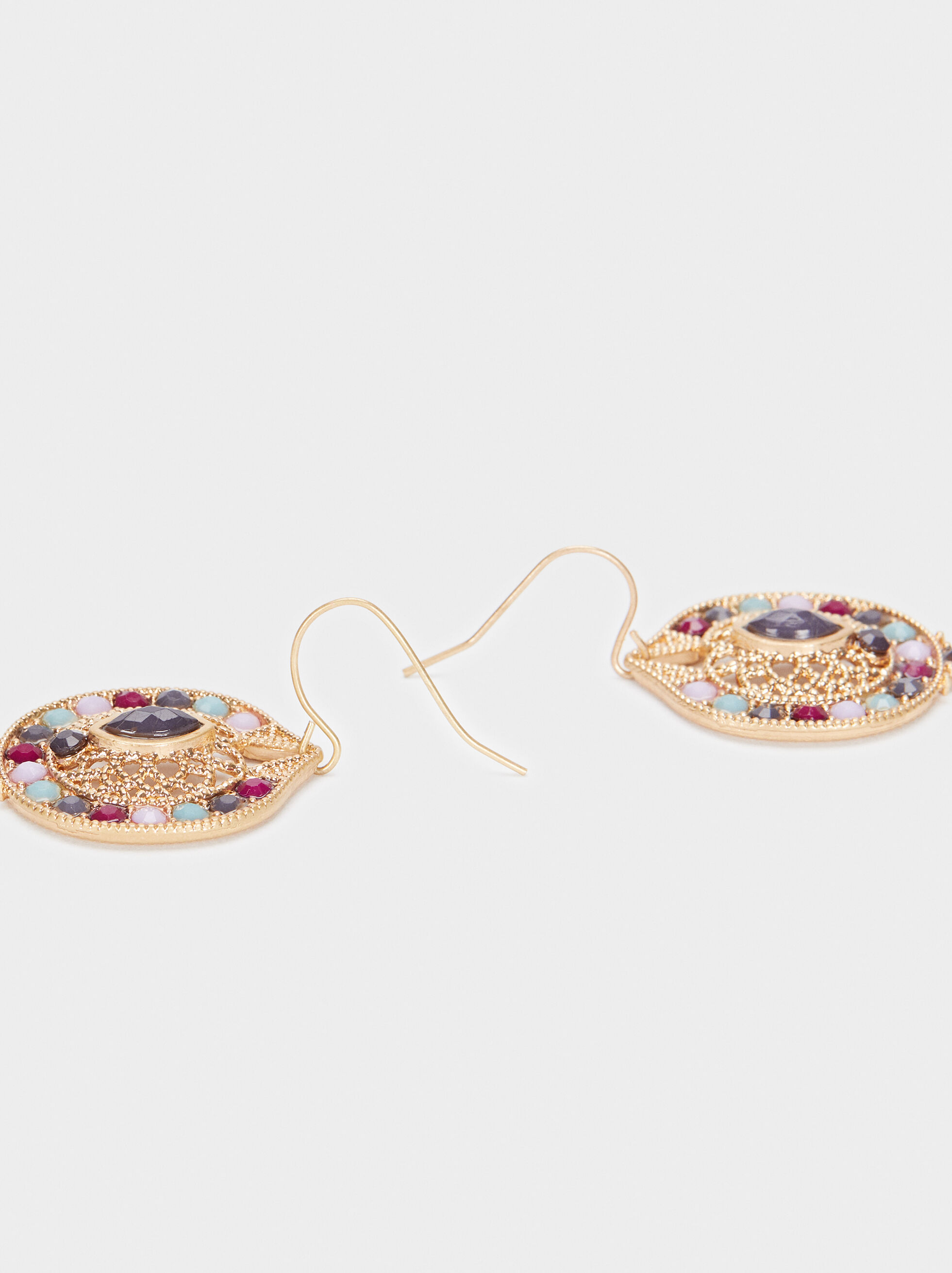 Watercolor Medium Earrings With Beads, Multicolor, hi-res