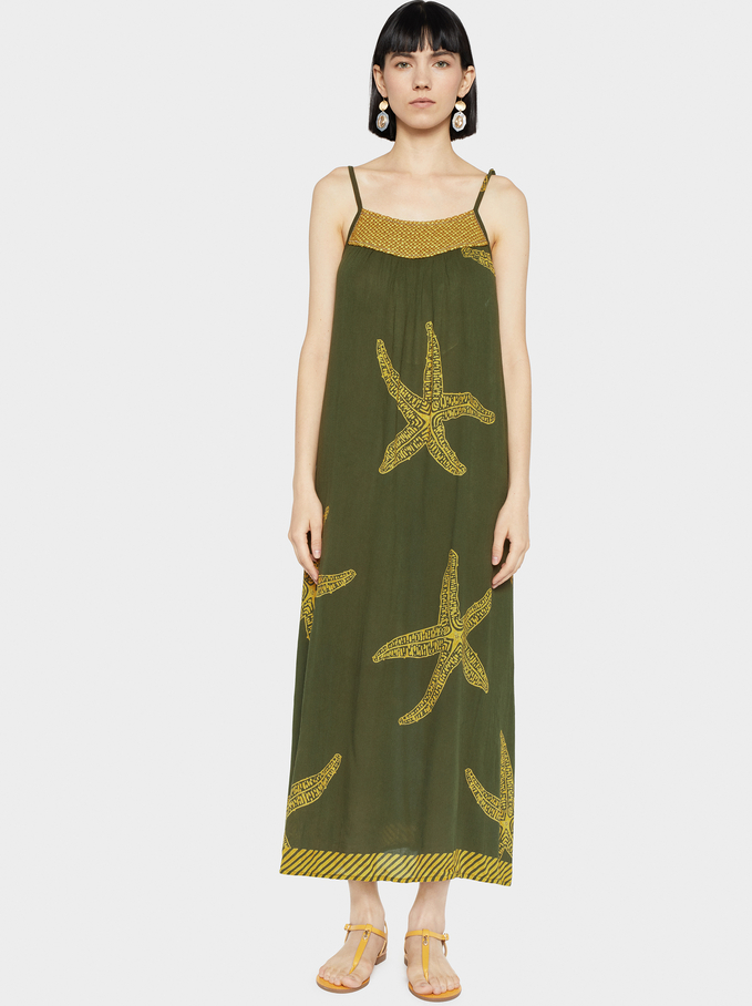 Printed Dress With Straps, Khaki, hi-res