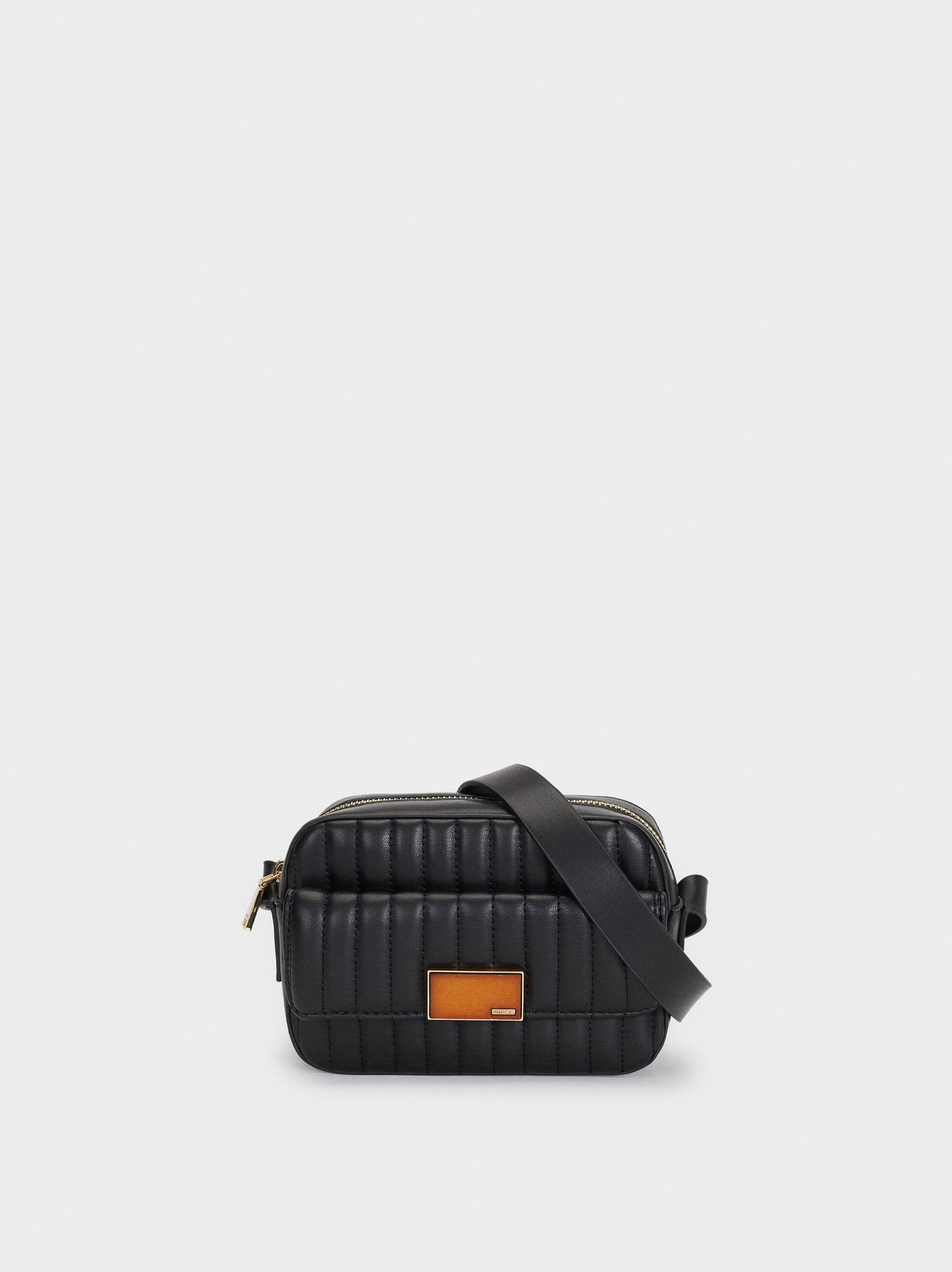 Shoulder Bag With Outer Pocket, Black, hi-res