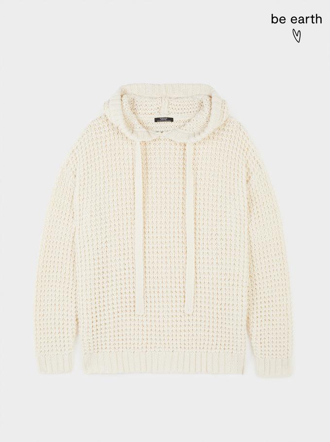Sweatshirt Com Capuz Fabricada Com Materiais Reciclados, Cru, hi-res