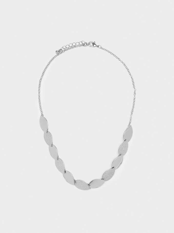 Short Silver-Plated Leaf Necklace, Silver, hi-res