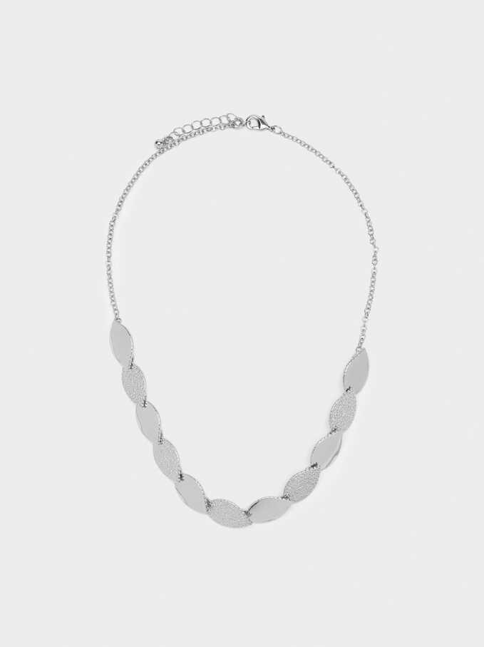 Short Gold Leaf Necklace, Silver, hi-res