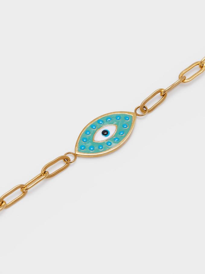 Stainless Steel Links Bracelet With Eye, Green, hi-res