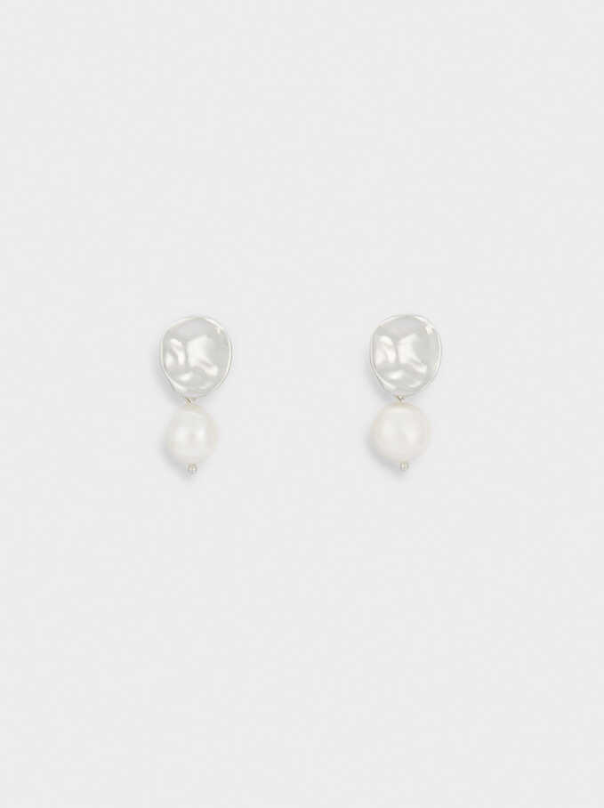 Small Earrings With Pearl And Stone, White, hi-res