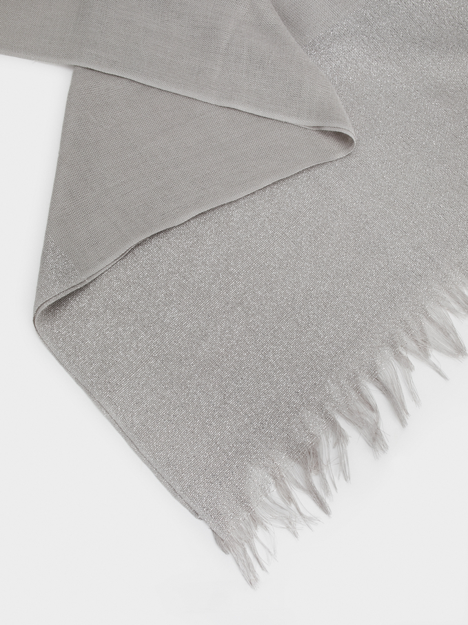 Metallic Wedding Scarf, Silver, hi-res