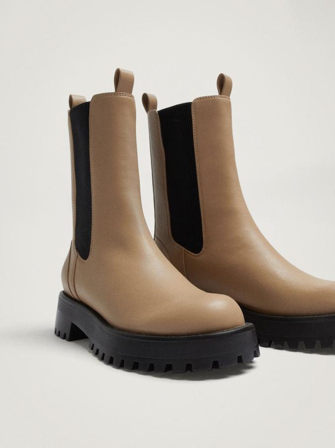 Elastic Ankle Boots, Beige, hi-res
