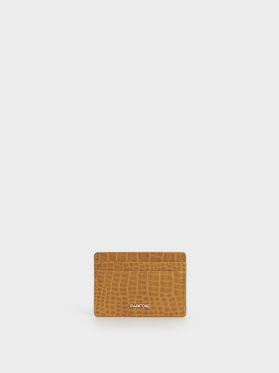 Embossed Animal Print Card Holder, Mustard, hi-res