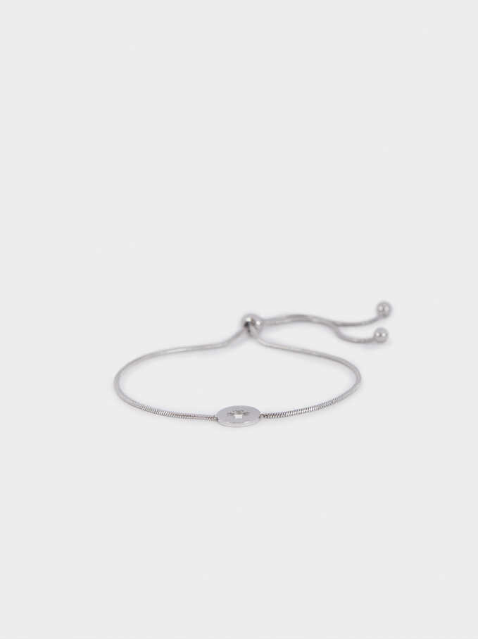 Silver Stainless Steel Adjustable Bracelet, Silver, hi-res
