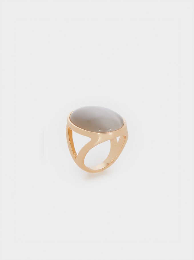 Metallic Signet Ring, Beige, hi-res