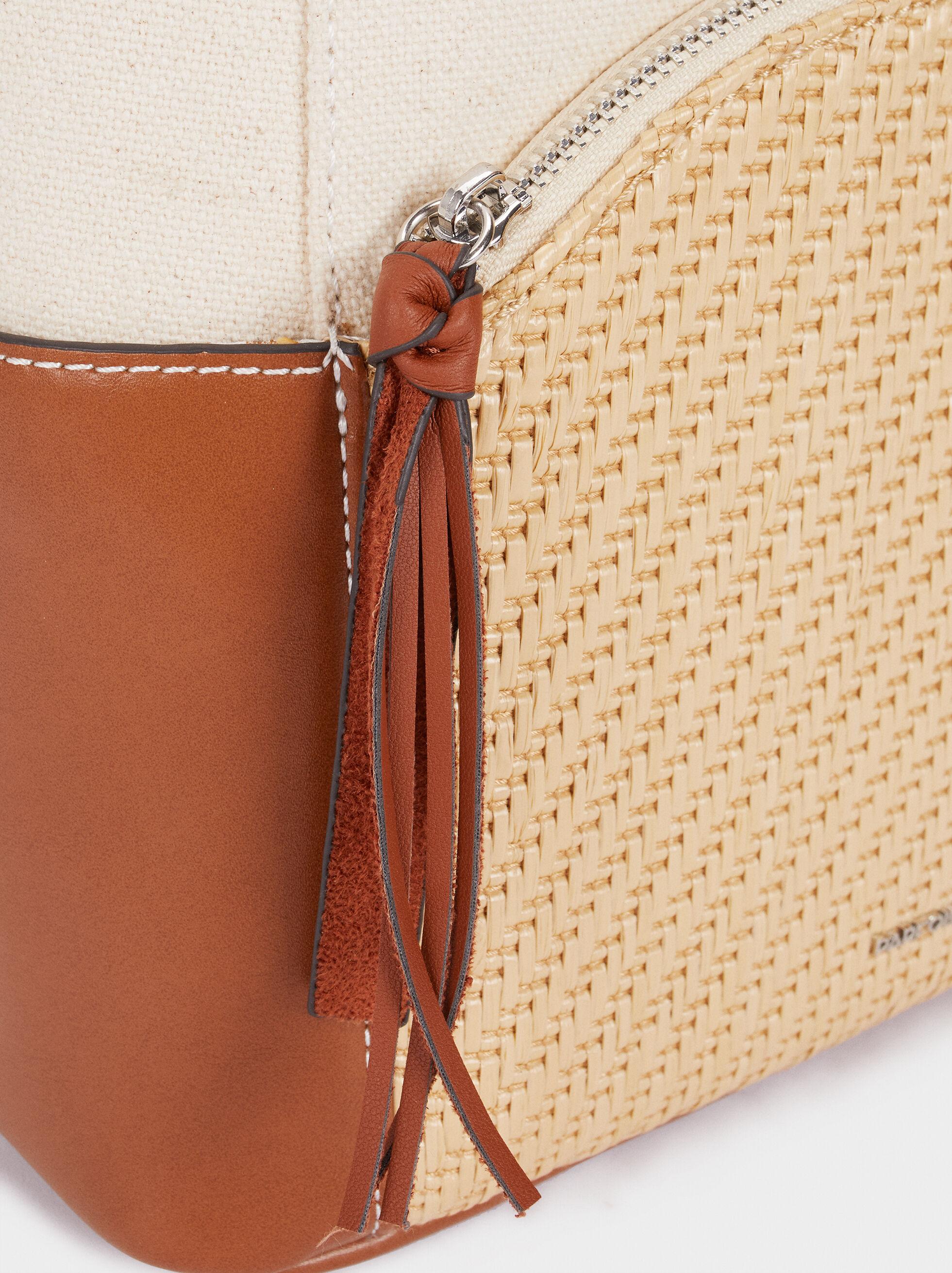 Backpack With Raffia Detailing, Camel, hi-res