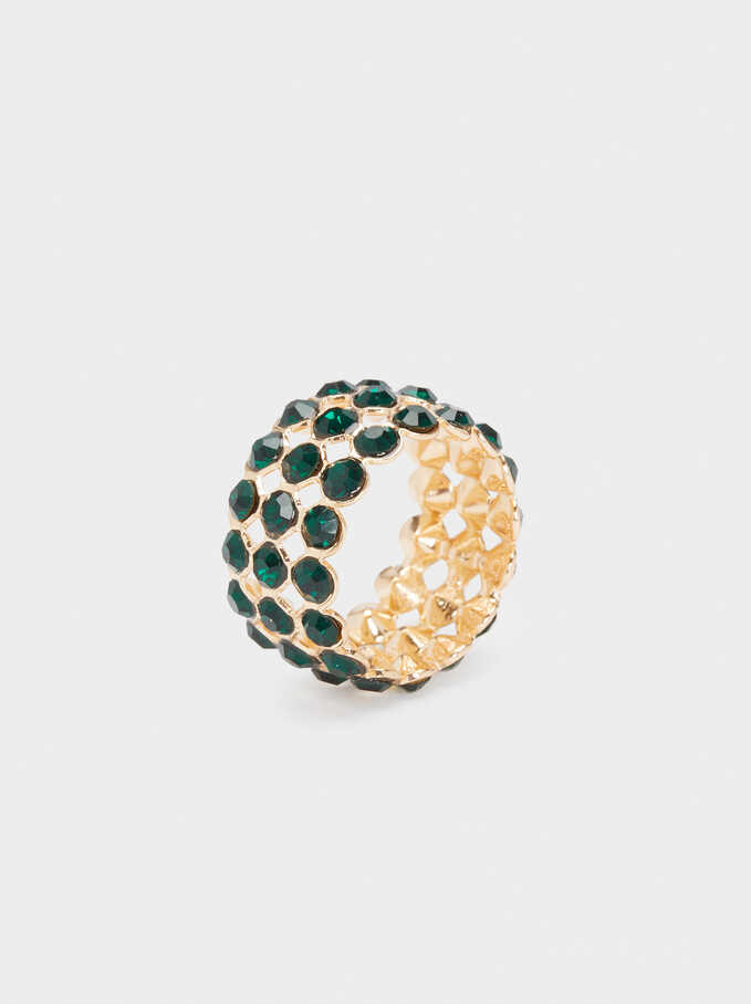 Multicoloured Crystal Ring, Green, hi-res