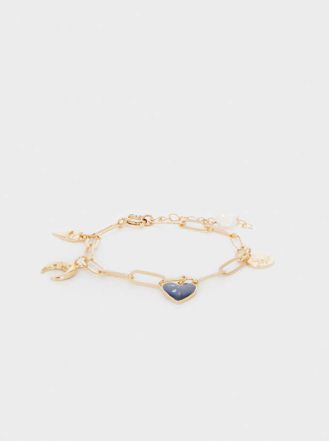Pulsera Eslabones Con Charms, Multicor, hi-res