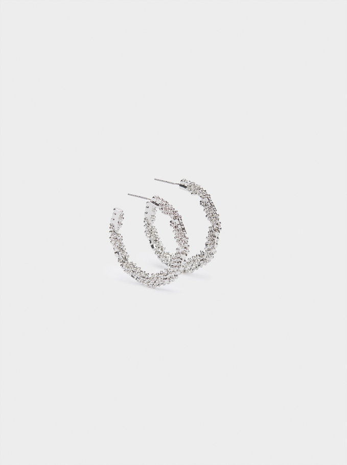 Hoop Earrings With Raised Effect, Silver, hi-res