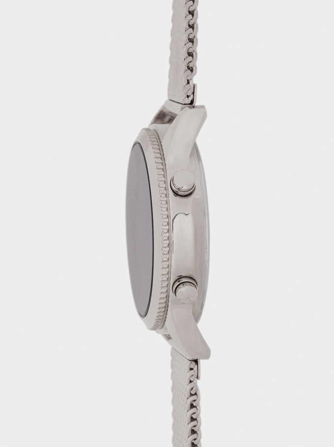 Reloj Digital Correa Malla Metálica, Plateado, hi-res
