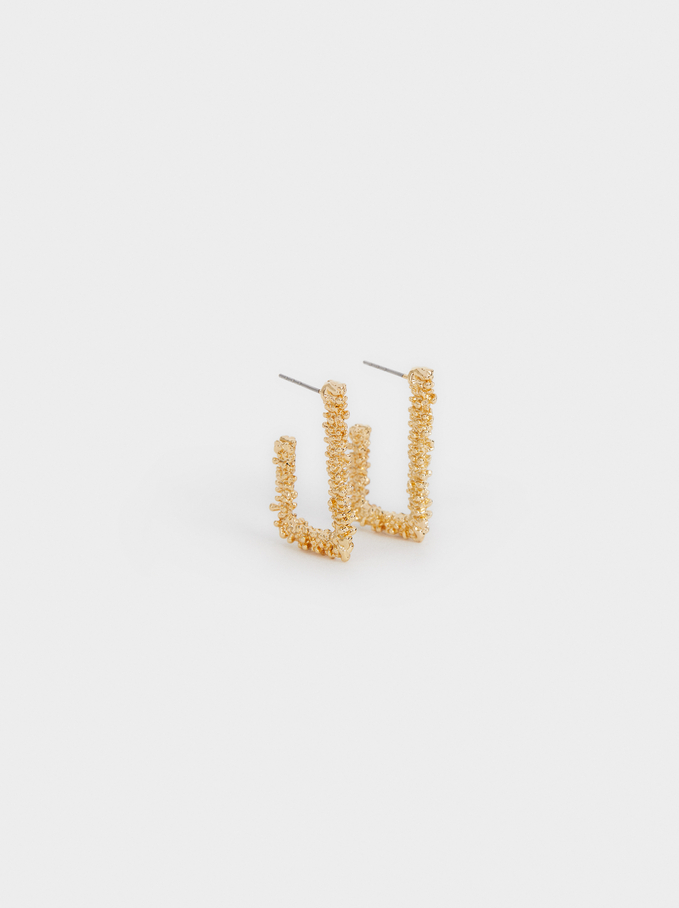 Small Square Hoop Earrings, Golden, hi-res