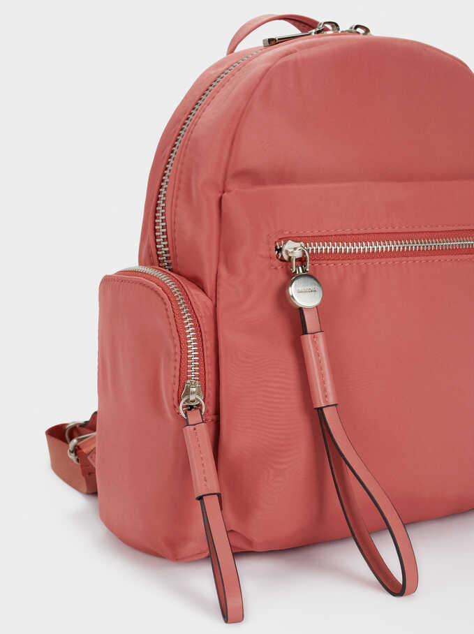 Nylon Backpack With Outside Pockets, Coral, hi-res