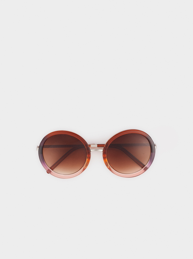 Occhiali Da Sole Rotondi In Acetato , Marrone, hi-res