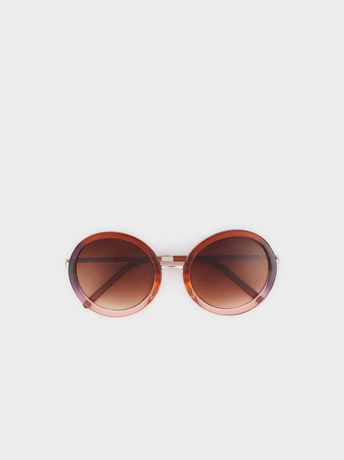 Gafas De Sol De Pasta Redondas , Marrón, hi-res