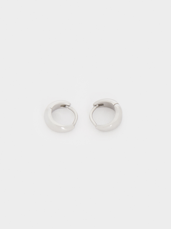 Small Silver Stainless Steel Hoop Earrings, Silver, hi-res
