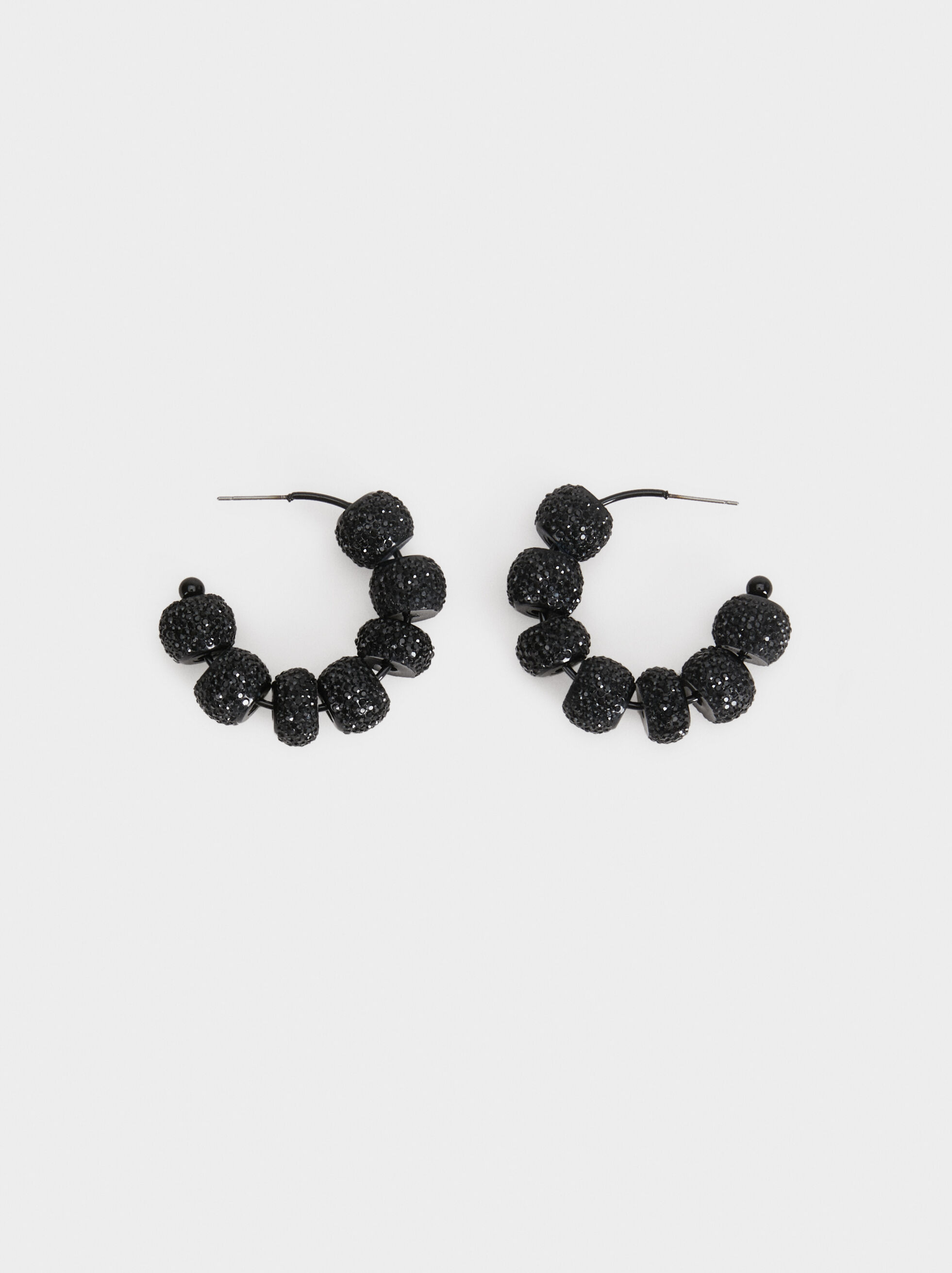Star Dust Medium Rhinestone Hoop Earrings, Black, hi-res