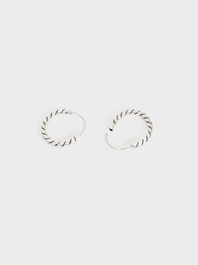 925 Silver Hoop Earrings, Silver, hi-res