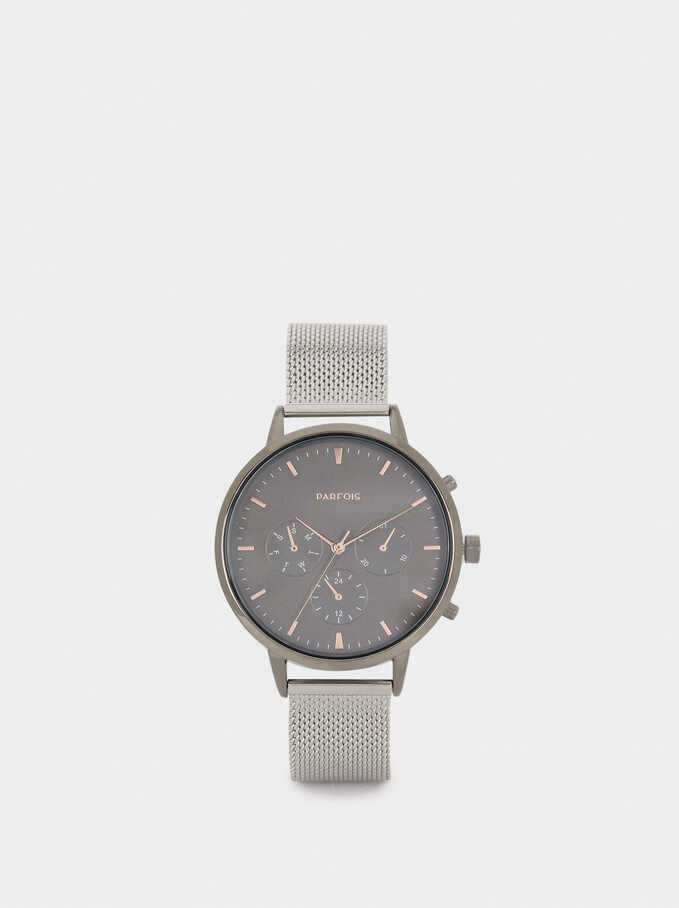 Watch With Stainless Steel Metallic Mesh Strap, Silver, hi-res