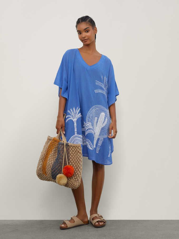 Kimono 100% Algodón Con Bordados, Azul, hi-res